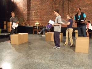 "Actors rehearse John Marabello's ""The Nerds of the Century."""